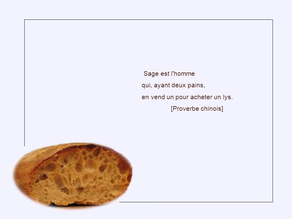 Sage est l homme qui, ayant deux pains, en vend un pour acheter un lys. [Proverbe chinois]